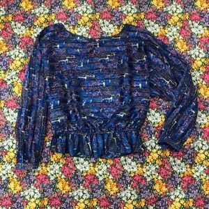 Blue Free People Blouse